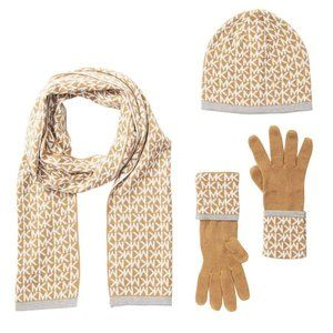 Michael Kors Scarf Hat and Glove Set NWT Tan White